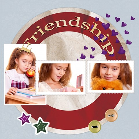 Friendship By Joely   Scrapbook Page 12  X 12    8i7fm1ux1m6i   Www Artscow Com 12 x12 Scrapbook Page - 1