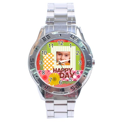 Happy Day By Joely   Stainless Steel Analogue Watch   K2nrznwz0bt1   Www Artscow Com Front