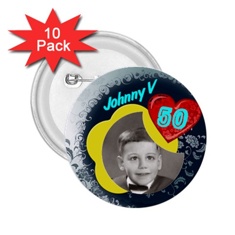 Johns 50th Birthday By Pat Kirby   2 25  Button (10 Pack)   Lmgzft2xe66a   Www Artscow Com Front