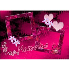 Memories Heart Hot Pink 3d Card Template By Ellan   Heart 3d Greeting Card (7x5)   Rgy2hyqent6o   Www Artscow Com Front