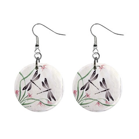 Two Dragonflies By Kamryn   1  Button Earrings   Qr13d7ed2suk   Www Artscow Com Front
