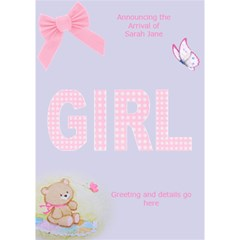 Baby Girl Announcement 3d Card By Deborah   Girl 3d Greeting Card (7x5)   Yx3h53vmrmzy   Www Artscow Com Inside