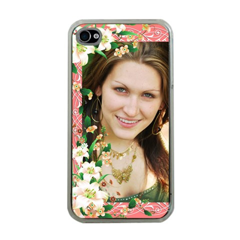 Floral Apricot Apple Iplone 4 Case (clear) By Deborah   Apple Iphone 4 Case (clear)   8ebjdi7v0k1g   Www Artscow Com Front