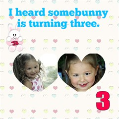 Somebunny Three By Patricia W   Twin Heart Bottom 3d Greeting Card (8x4)   Dcflrd6q06ep   Www Artscow Com Inside