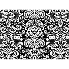 Black & White Damask  Any Theme, 3d Circle Bottom Card By Mikki   Circle Bottom 3d Greeting Card (7x5)   Y9h25p4od9tj   Www Artscow Com Back