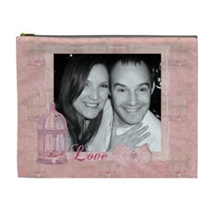 We  Are A Symphony, Pink Vintage Lace Make Up Bag By Claire Mcallen   Cosmetic Bag (xl)   00wuxj4x9mh9   Www Artscow Com Front
