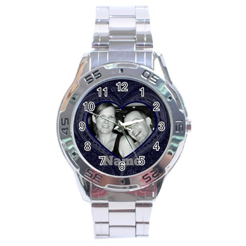 Mens Blue Heart Watch By Claire Mcallen   Stainless Steel Analogue Watch   Kgw1r8raqvjf   Www Artscow Com Front
