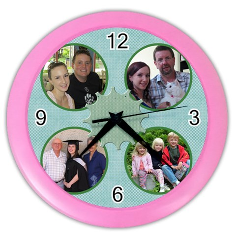Our Family Clock By Deborah   Color Wall Clock   R54pmbvsqn7n   Www Artscow Com Front