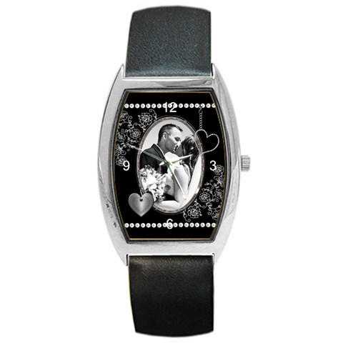 Black And Whitel Metal Barrel Style Watch By Lil    Barrel Style Metal Watch   N6c65bkj1969   Www Artscow Com Front
