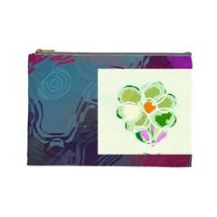 Green Flower By Riksu   Cosmetic Bag (large)   Ve61vx8d9oca   Www Artscow Com Front