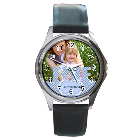 Happy Birthday By Joely   Round Metal Watch   Coyau4o6skqa   Www Artscow Com Front