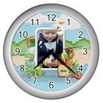 Gone Fishing Silver Wall Clock1 - Wall Clock (Silver)