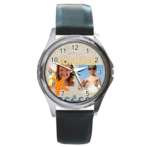 Summer By Joely   Round Metal Watch   Nuav9ffd189w   Www Artscow Com Front