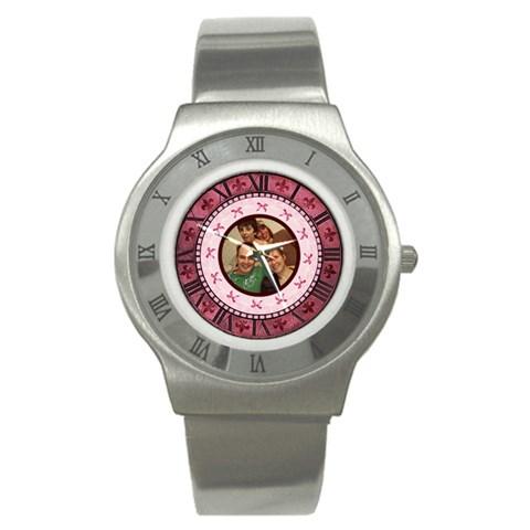 Pink Roman Numerals Bow Watch By Claire Mcallen   Stainless Steel Watch   08fveg83hjdi   Www Artscow Com Front