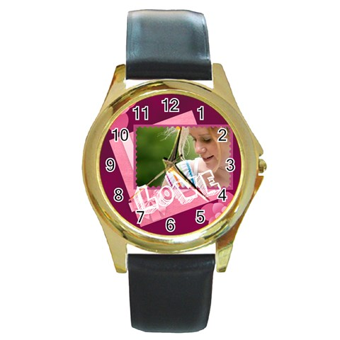 Mothers Day By Joely   Round Gold Metal Watch   Pb677t1oqt93   Www Artscow Com Front
