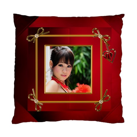 Red And Gold Framed Cushion By Deborah   Standard Cushion Case (one Side)   24xa61uv6ks0   Www Artscow Com Front
