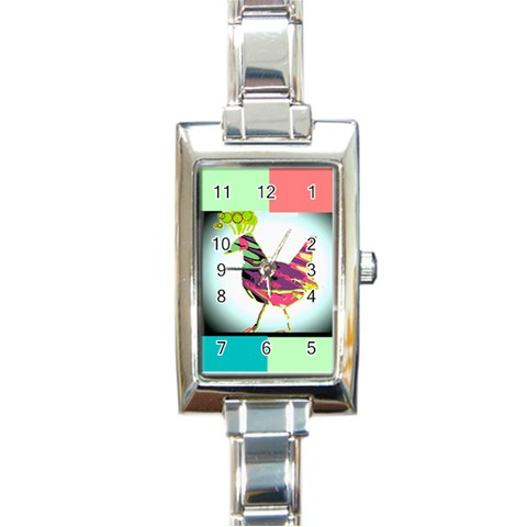 Bird Watch By Riksu   Rectangle Italian Charm Watch   Cxklfk36re2e   Www Artscow Com Front