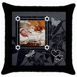 Charcoal Throw Pillow Case - Throw Pillow Case (Black)