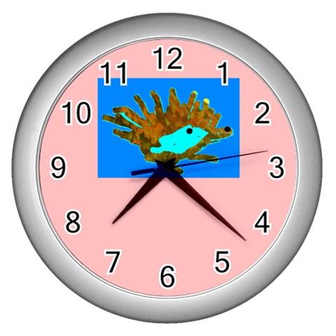 Hedgehog Clock By Riksu   Wall Clock (silver)   1zs86lpwgmnn   Www Artscow Com Front