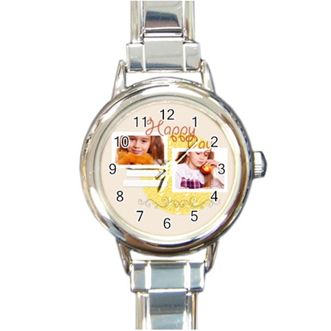 Happy Day By Joely   Round Italian Charm Watch   3e7p1cpwr86z   Www Artscow Com Front