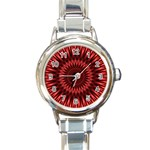 Red Lagoon Round Italian Charm Watch