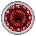 Red Lagoon Wall Clock (Silver)