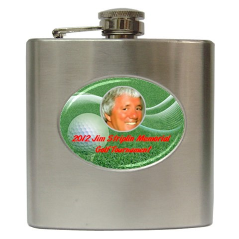 Flask Golf Tournament By Pat Kirby   Hip Flask (6 Oz)   Bvl3yt1i9e82   Www Artscow Com Front