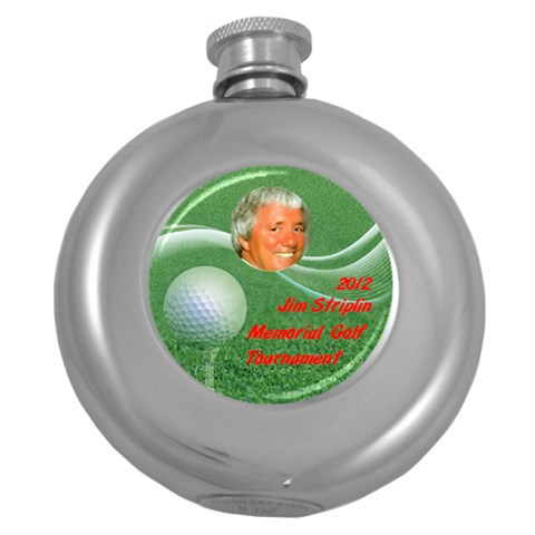 Flask Round Golf Tournament By Pat Kirby   Hip Flask (5 Oz)   04pespcj02ez   Www Artscow Com Front