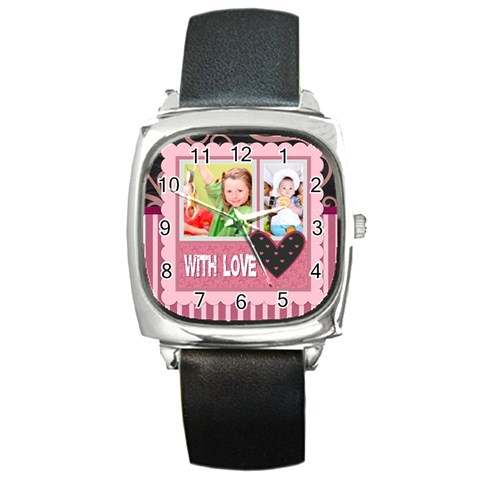 With Love By Mac Book   Square Metal Watch   7xc3yu55f1pe   Www Artscow Com Front