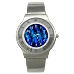 Blue Swirl Stainless Steel Watch