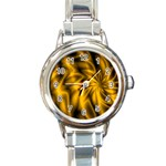Golden Swirl Round Italian Charm Watch