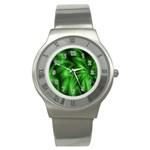 Green Swirl Stainless Steel Watch