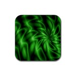 Green Swirl Rubber Square Coaster (4 pack)