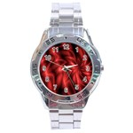Red Swirl Stainless Steel Analogue Men's Watch