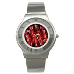 Red Swirl Stainless Steel Watch