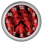 Red Swirl Wall Clock (Silver)