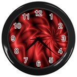 Red Swirl Wall Clock (Black)