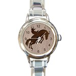 Leather-Look Rodeo Round Italian Charm Watch