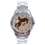 Leather-Look Rodeo Stainless Steel Analogue Men's Watch