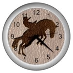 Leather-Look Rodeo Wall Clock (Silver)