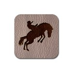 Leather-Look Rodeo Rubber Square Coaster (4 pack)