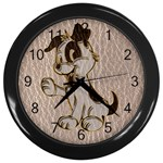 Leather-Look Dog Wall Clock (Black)