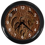 Leather-Look Flower Wall Clock (Black)