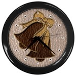 Leather-Look Wedding Wall Clock (Black)