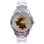 Leather-Look Wedding Stainless Steel Analogue Men's Watch