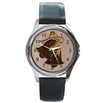 Leather-Look Wedding Round Metal Watch