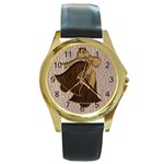 Leather-Look Wedding Round Gold Metal Watch