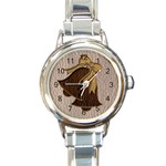 Leather-Look Wedding Round Italian Charm Watch