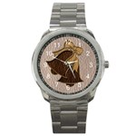 Leather-Look Wedding Sport Metal Watch