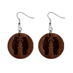 Leather-Look Black Bears 1  Button Earrings